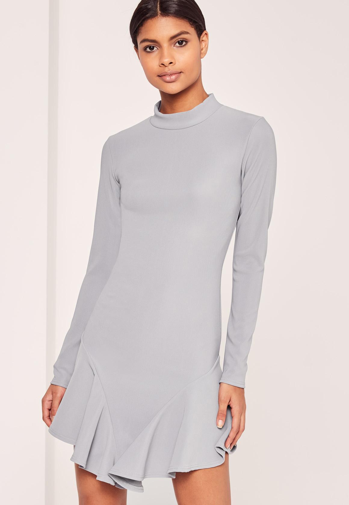 Grey High Neck Flutter Skirt Dress