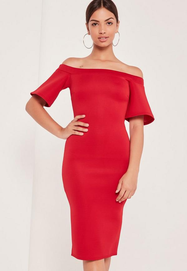 Bonded Scuba Midi Dress Red