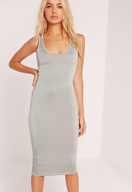 Slinky Bodycon Midi Dress Grey