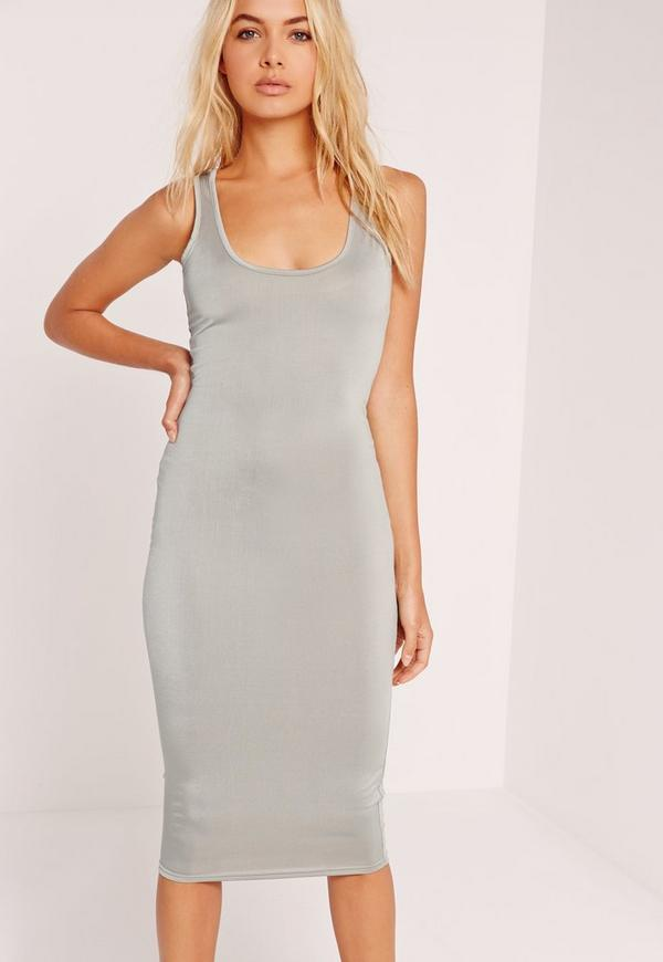 Slinky Bodycon Midi Dress Grey