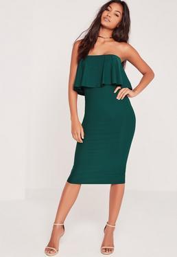 Sleeveless Frill Midi Dress Green