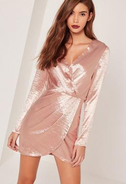 Silky Long Sleeve Wrap Dress Pink