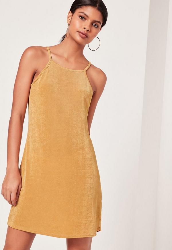 Square Neck Slinky Swing Dress Gold