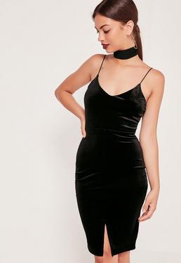 Strappy Velvet Midi Dress Black