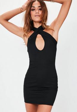 Cross Front Plunge Bodycon Dress Black