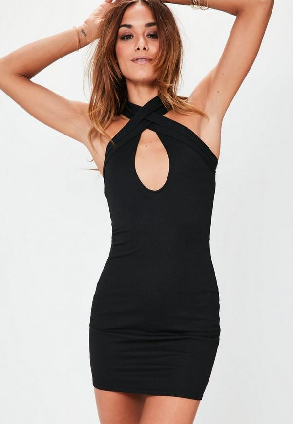 Cross Front Plunge Bodycon Dress Black