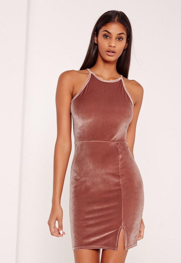 90's Neck Split Hem Velvet Bodycon Dress Pink