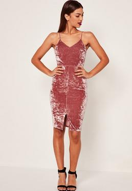 Crushed Velvet Strappy Midi Dress Pink