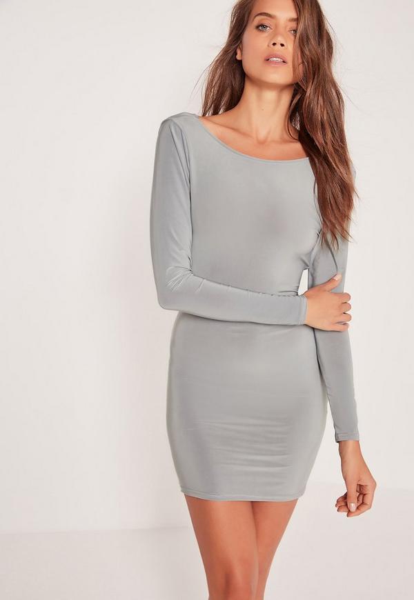 Cowl Back Slinky Bodycon Dress Silver