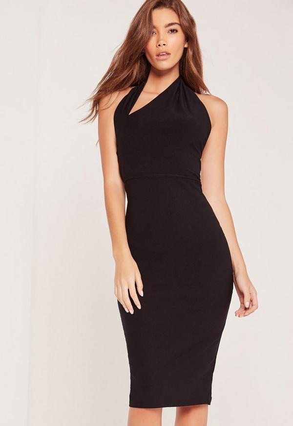 Halterneck Cut Out Midi Dress Black