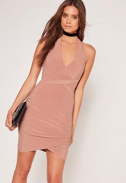 Wrap Waist Slinky Halterneck Dress Pink