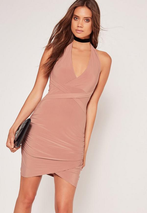 Wrap Waist Slinky Halterneck Dress Pink