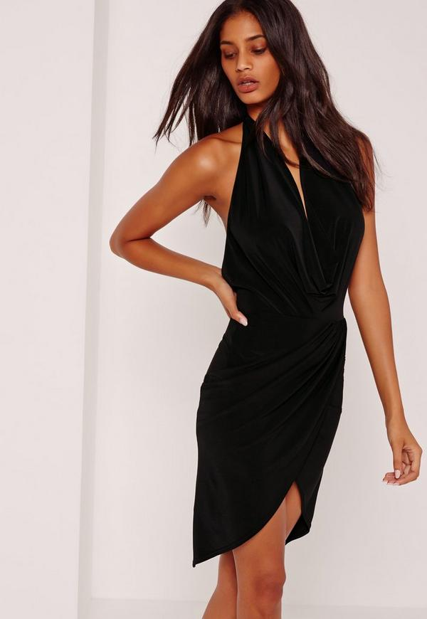 Slinky Cowl Midi Dress Black