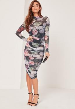 Floral Printed Mesh Ruched Bodycon Dress