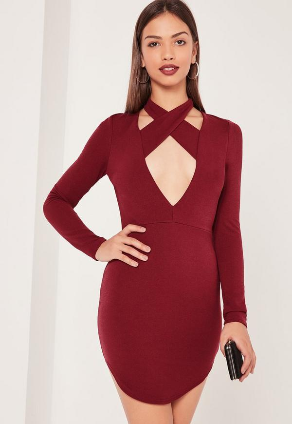 Halterneck Plunge Curve Hem Bodycon Dress Burgundy