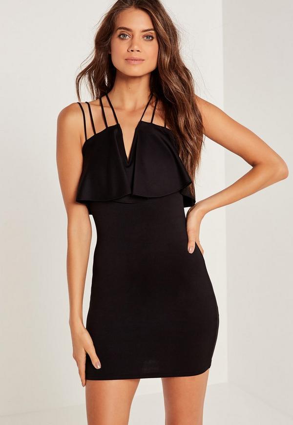 Frill Multi Strap Bodycon Dress Black