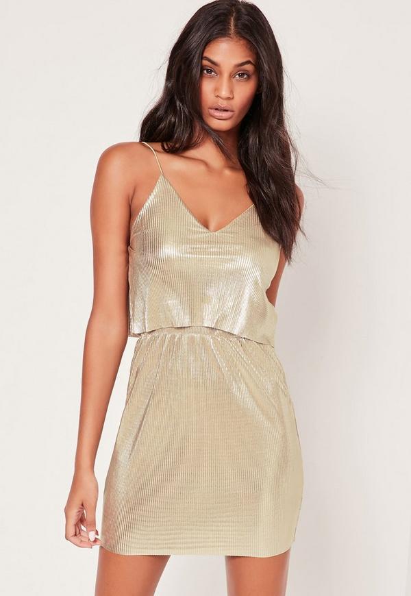 Layered Pleated Shift Dress Gold