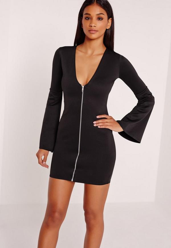 Zip Front Plunge Bodycon Dress Black