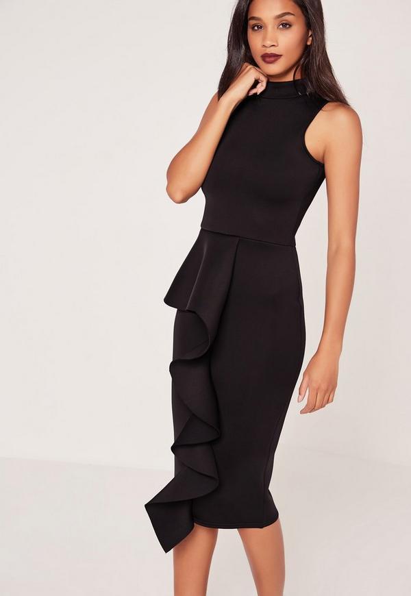High Neck Frill Skirt Midi Dress Black