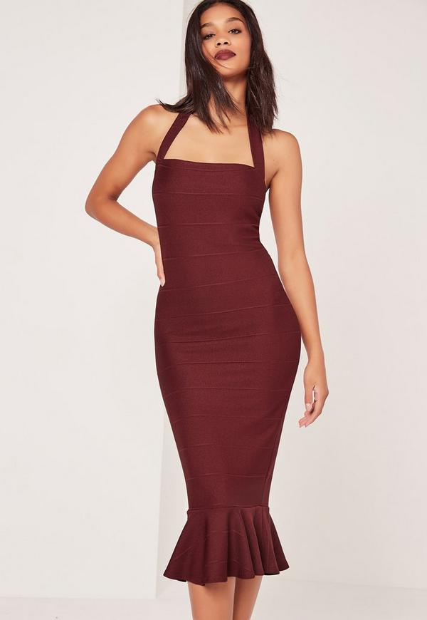 Bandage Frill Hem Midi Dress Burgundy