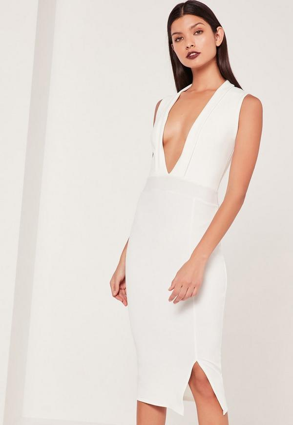 Lapel Plunge Midi Dress White