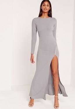 Robe longue grise fendue zippée