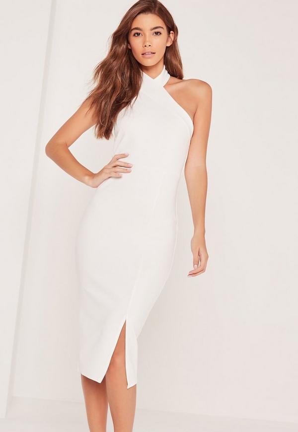 Asymmetric Halterneck Midi Dress White
