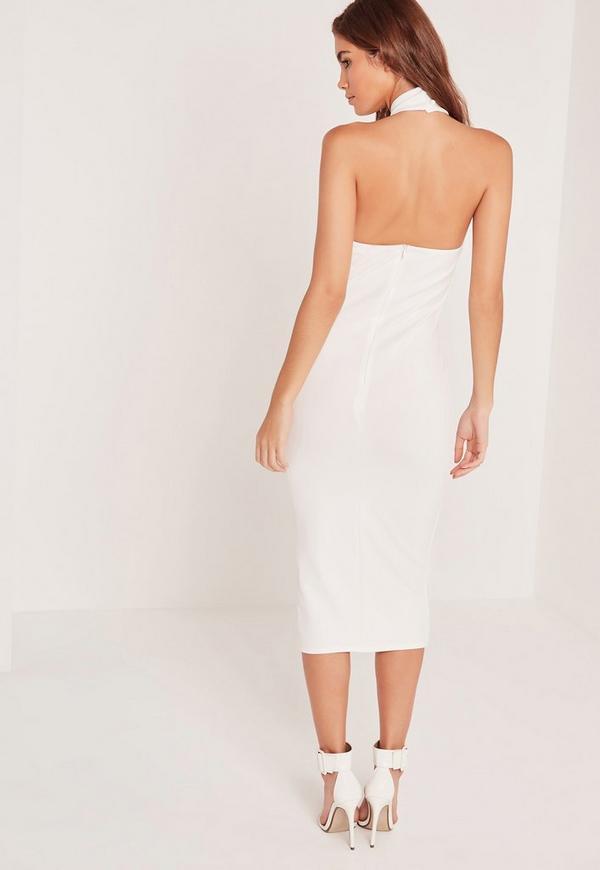 Missguided white strapless midi dress