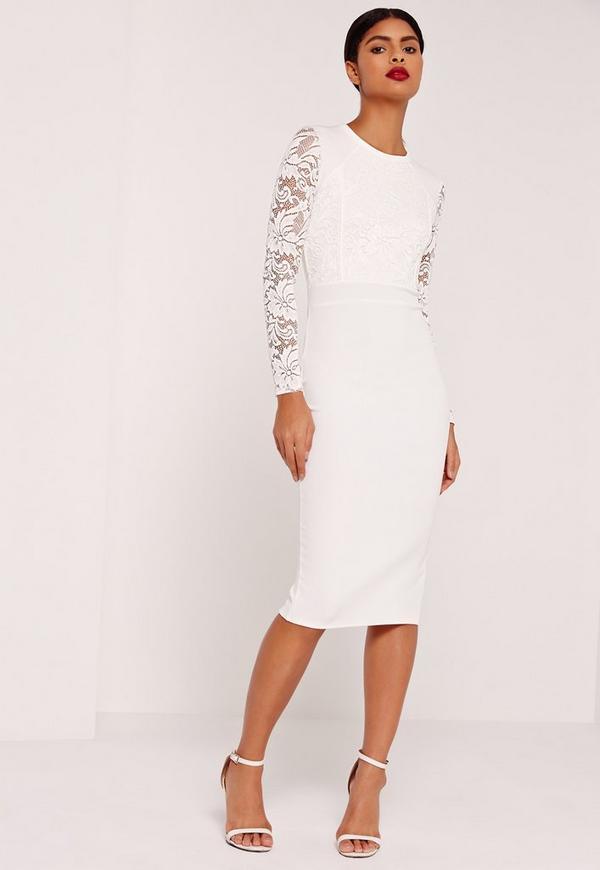 Lace Panelled Midi Dress White