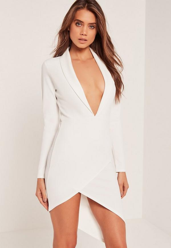 Asymmetric Wrap Hem Plunge Bodycon Dress White