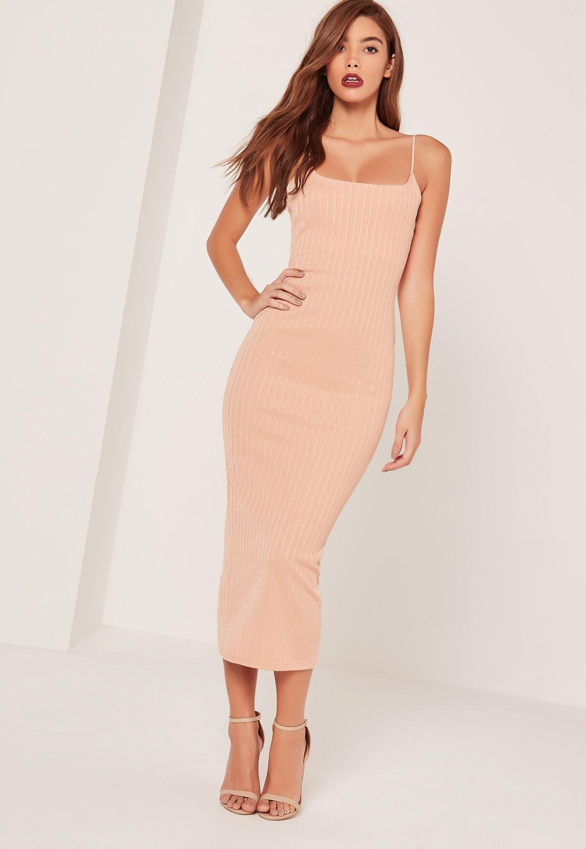 Ribbed Strappy Midi Dress Nude