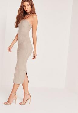 Faux Suede Bandeau Midi Dress Grey