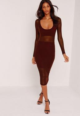 Long Sleeve Mesh Jersey Insert Midi Dress Burgundy