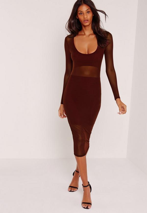 Long Sleeve Mesh Jersey Insert Midi Dress Burgundy