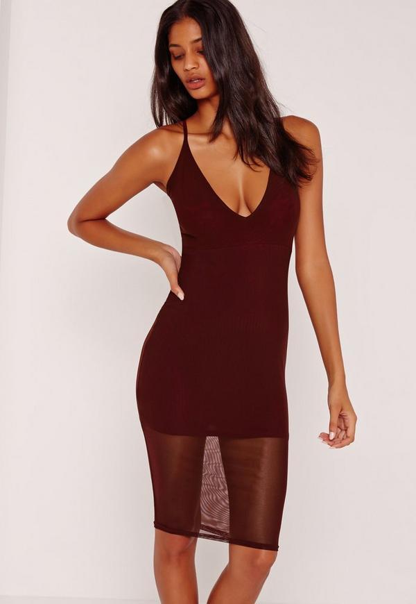 Strappy Mesh Jersey Midi Dress Burgundy