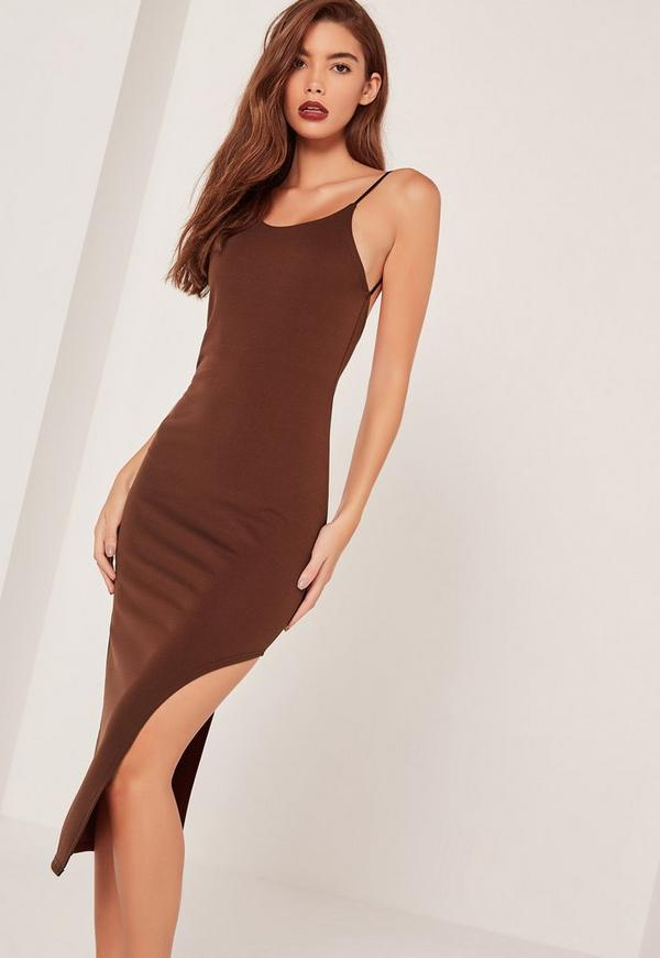 Racer Thigh Split Midi Dress Brown