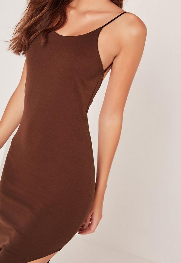 robe mi longue fendue marron sarah ashcroft missguided. Black Bedroom Furniture Sets. Home Design Ideas