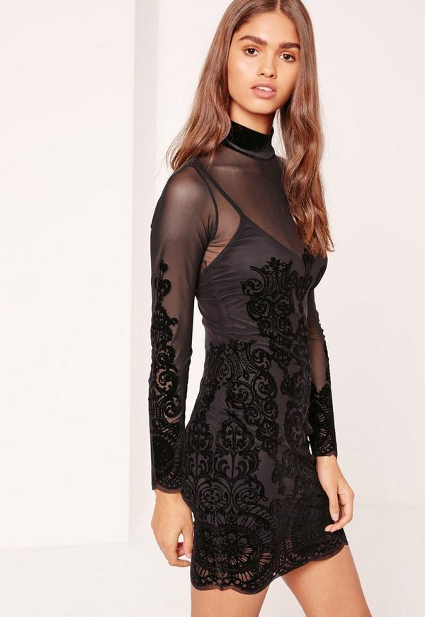 Flocked Mesh Bodycon Dress Black