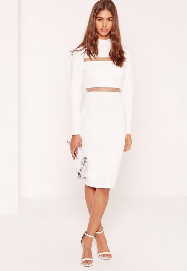 Scuba Mesh Insert Midi Dress White