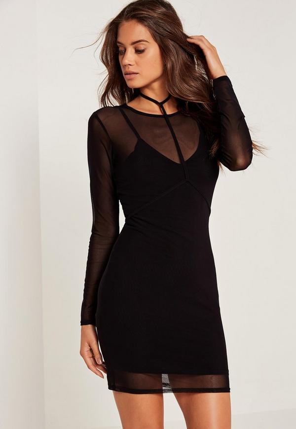 Harness Mesh Overlay Bodycon Mini Dress Black