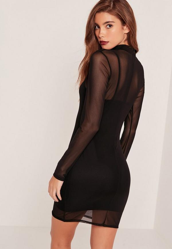 Overlay bodycon black dress