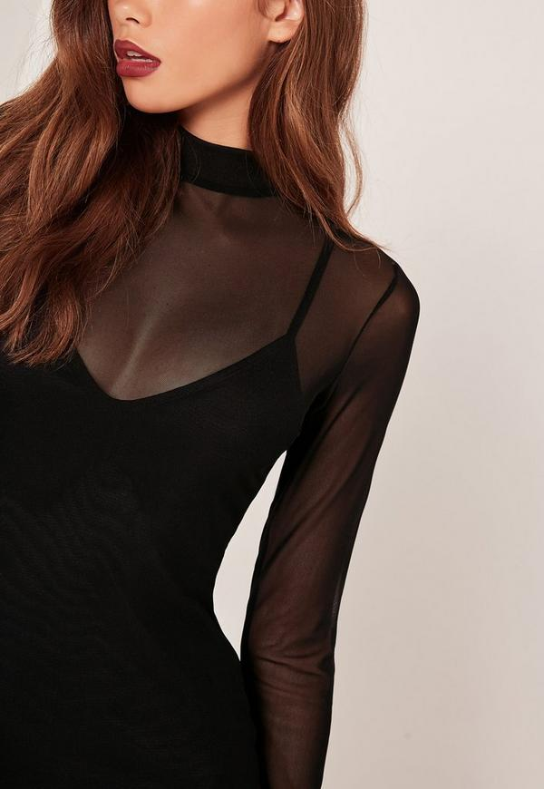 high neck mesh overlay bodycon dress black missguided