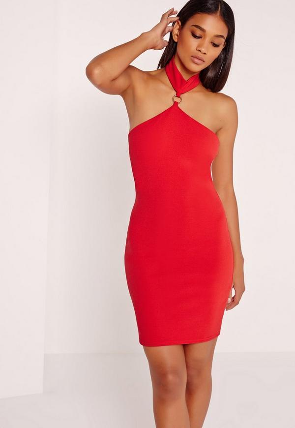Hoop Detail Halter Bodycon Dress Red