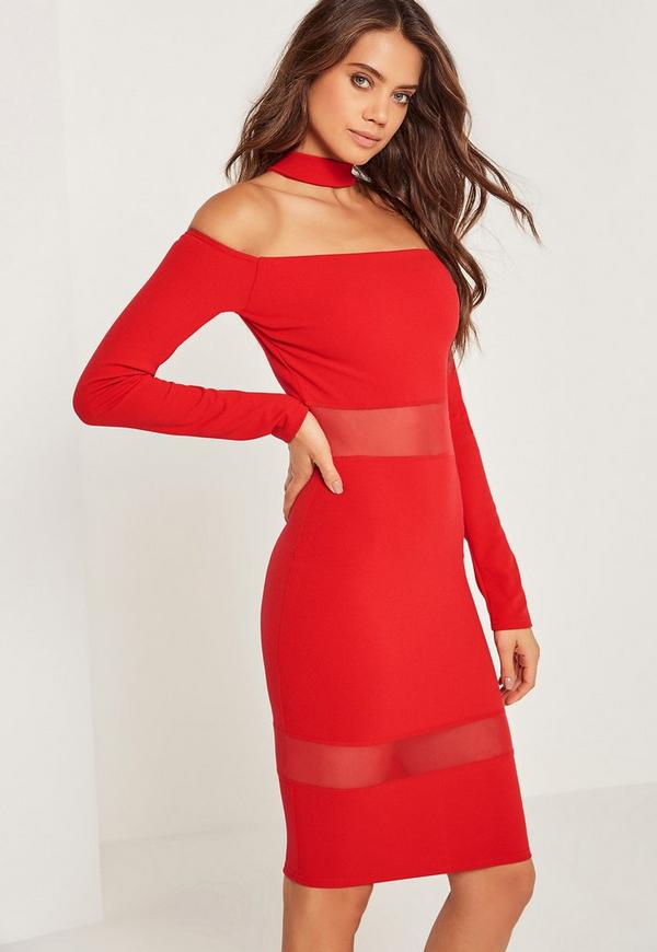 Mesh Panel Bardot Choker Midi Dress Red