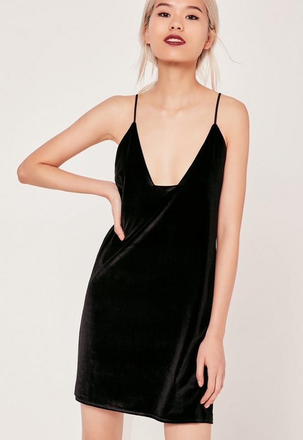 Black Square Neck Velvet Cami Dress
