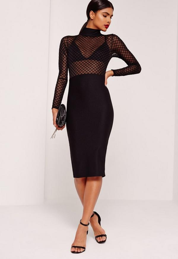 Long Sleeve Grid Mesh Contrast Midi Dress Black