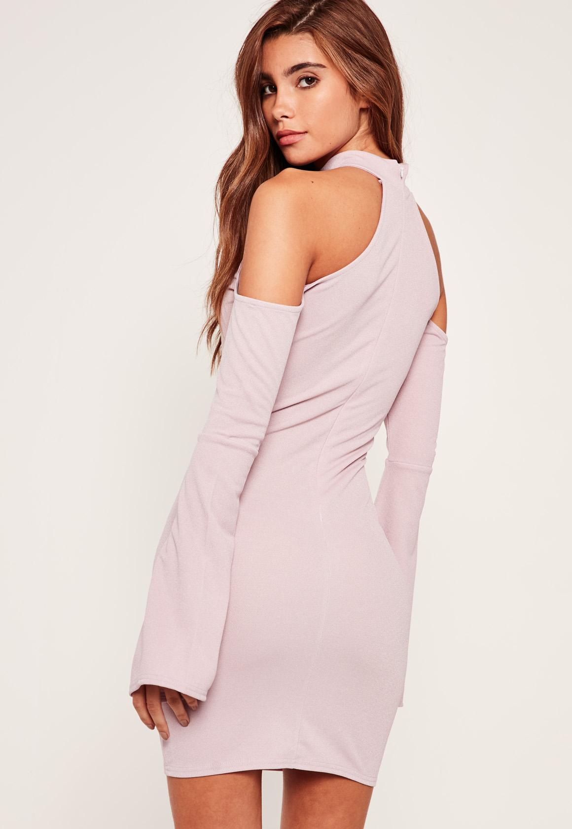 Bell Sleeve Cold Shoulder Bodycon Dress Purple