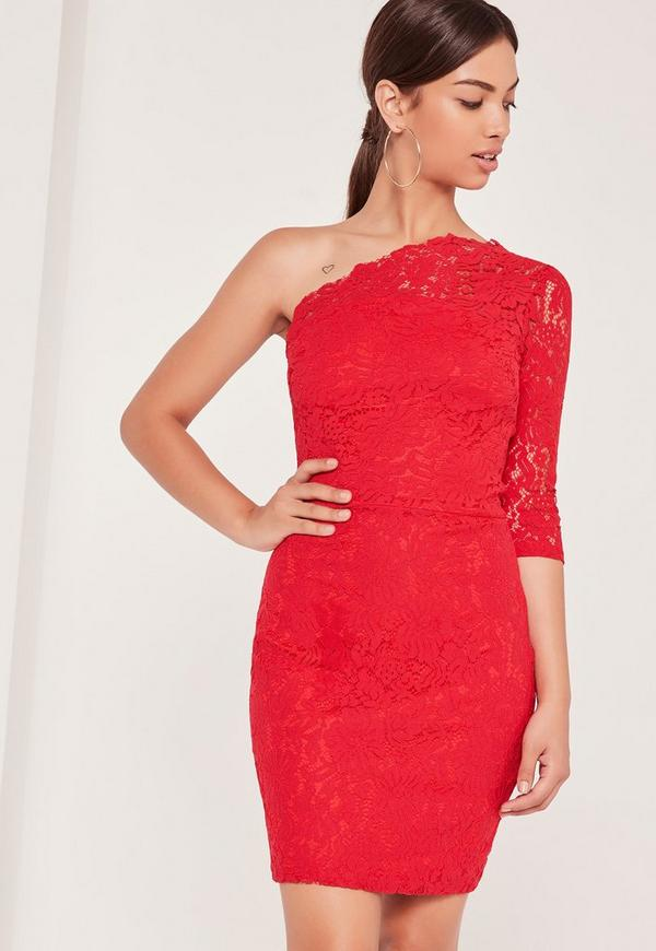 Lace One Shoulder Bodycon Dress Red