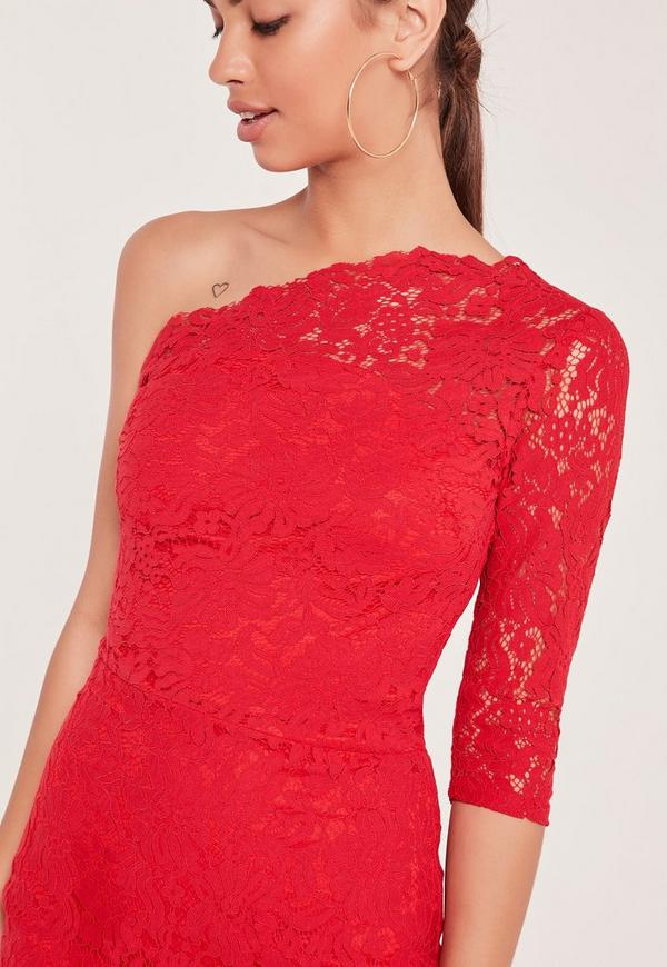 One sleeve red lace dress