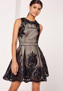 Sleeveless Embroidered Mesh Skater Dress Black